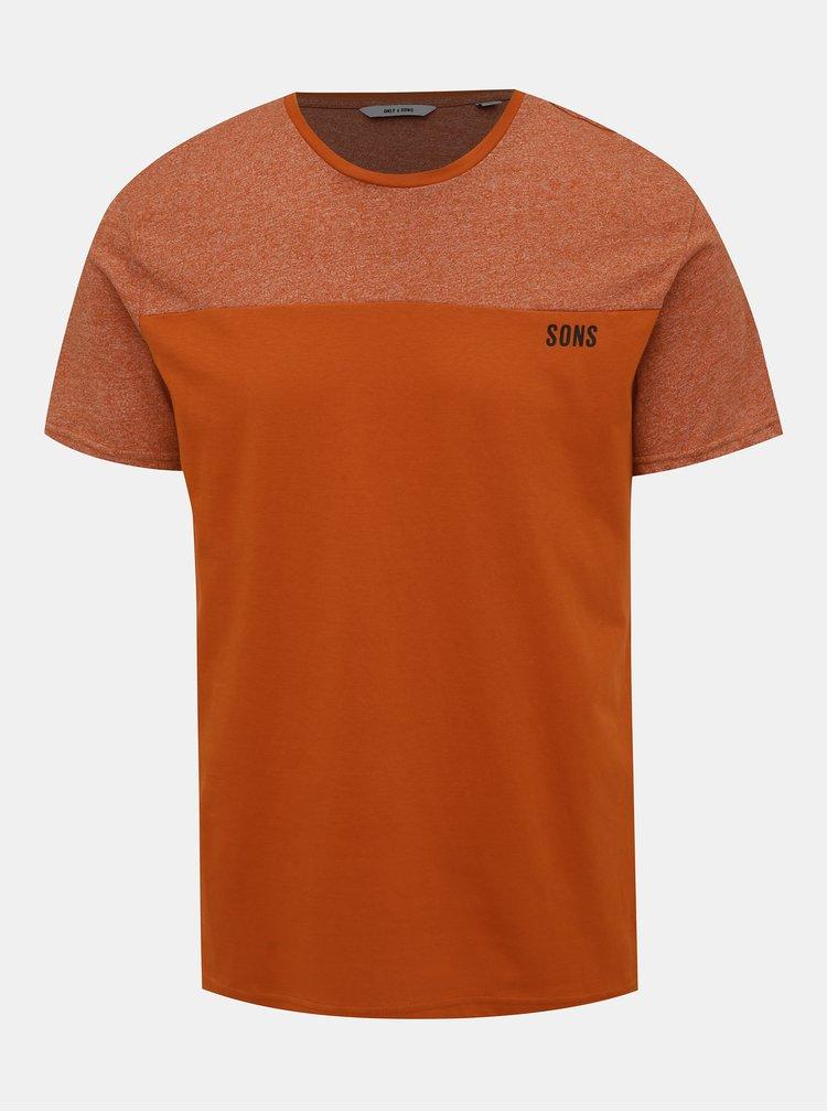 Oranžové žíhané tričko ONLY & SONS Poam