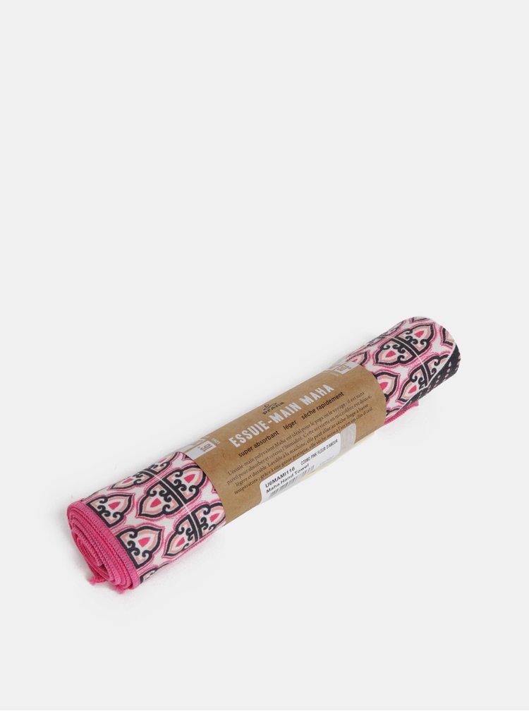 Růžový vzorovaný ručník na ruce prAna Maha