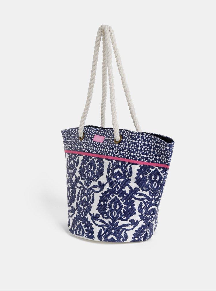 Modrá dámská vzorovaná plážová taška Tom Joule