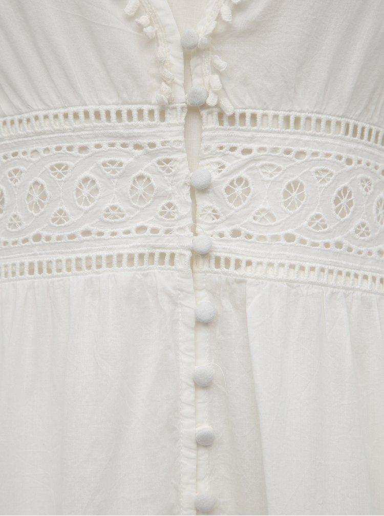Bílé maxišaty s madeirou a spodničkou VILA Elenore