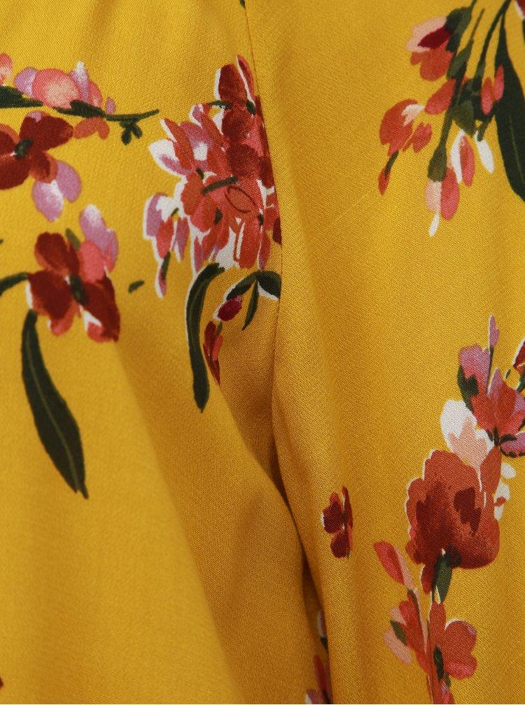 Horčicová kvetovaná blúzka Apricot