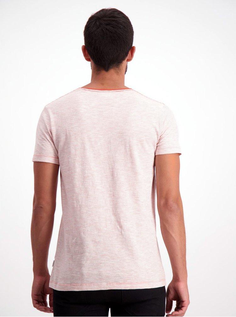 Oranžovo-bílé pruhované basic tričko Lindbergh