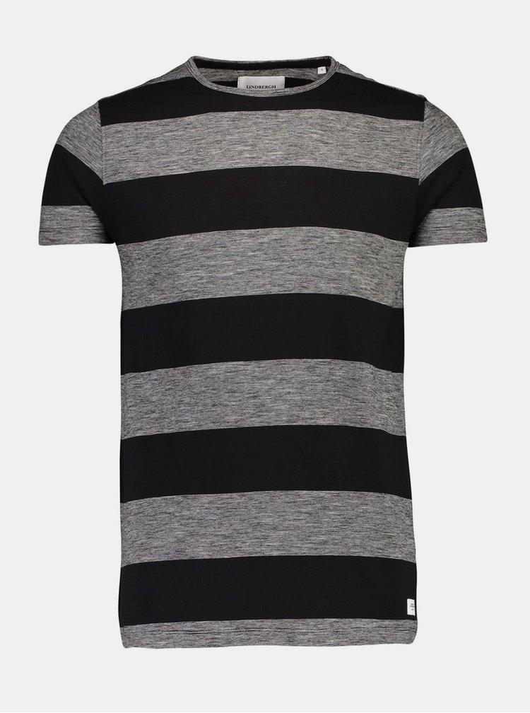 Černé pruhované tričko Lindbergh