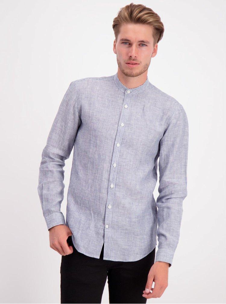 Modrá lněná pruhované košile bez límečku Lindbergh