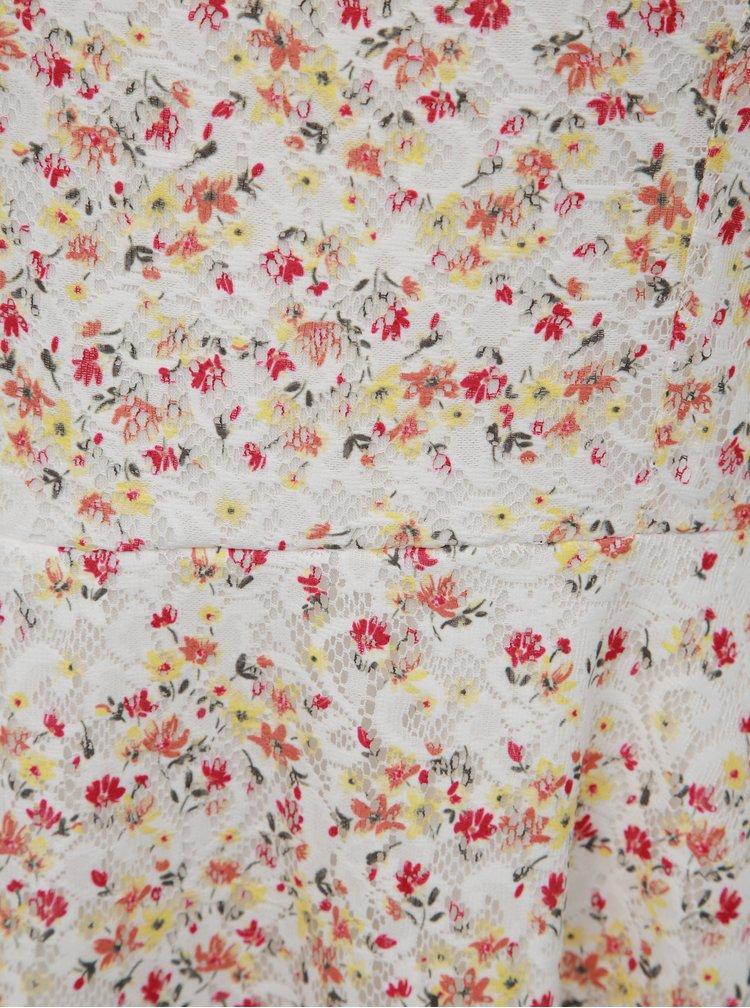Bílé krajkové květované šaty Apricot