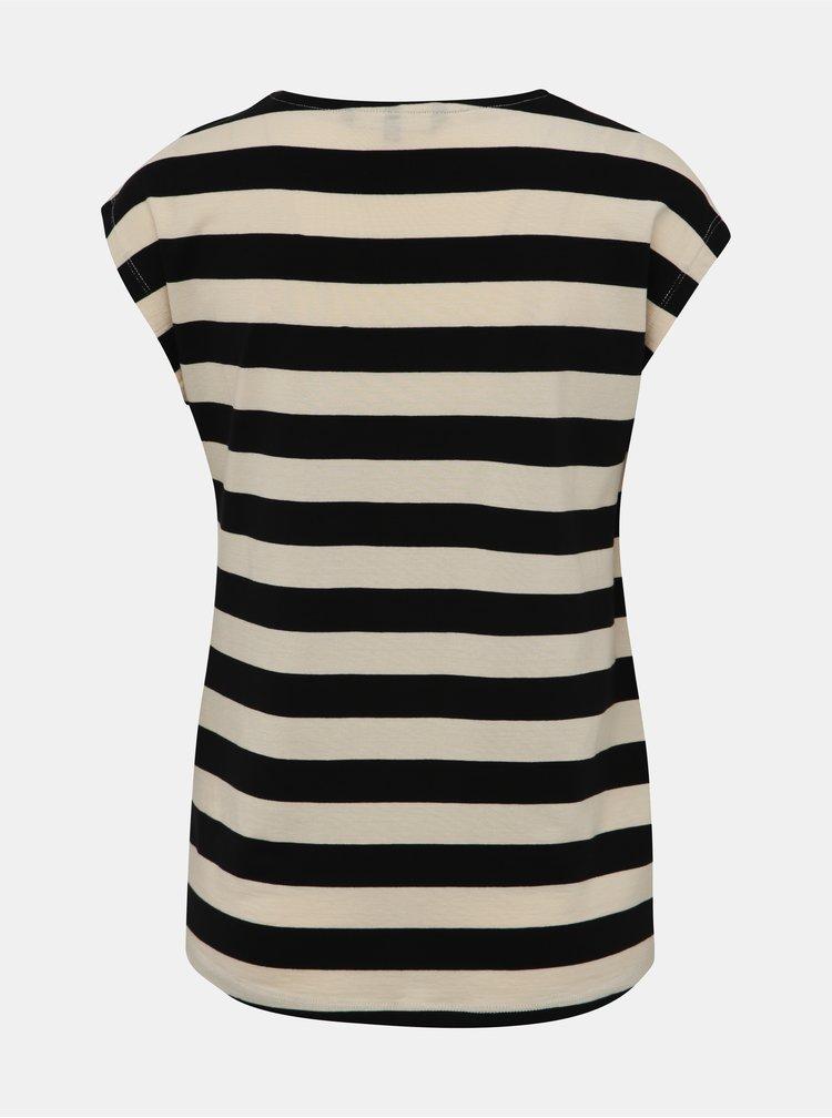 Krémovo-čierne pruhované tričko VERO MODA Ashlee