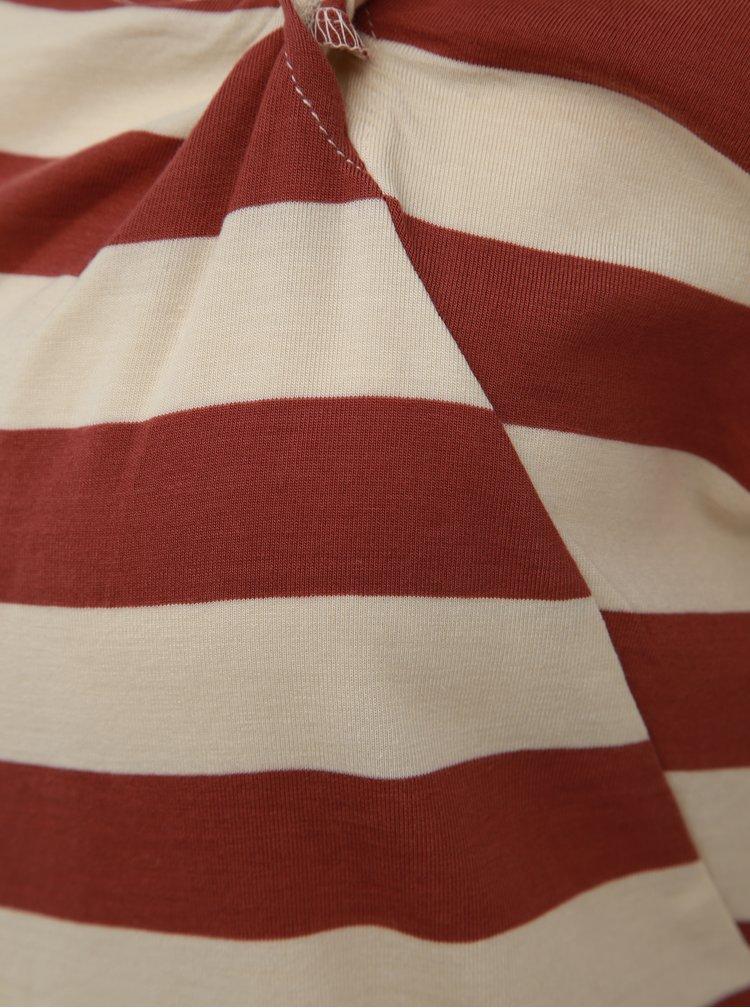 Krémovo-hnedé pruhované tričko VERO MODA Ashlee