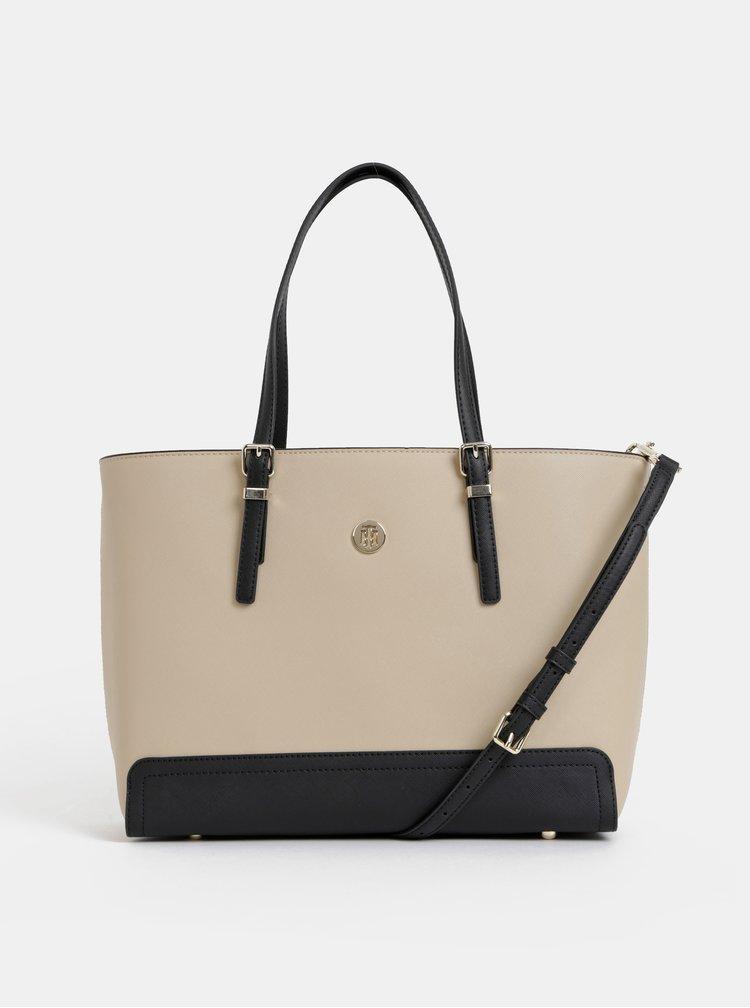Béžová kabelka s odnímatelným pouzdrem na notebook Tommy Hilfiger Honey