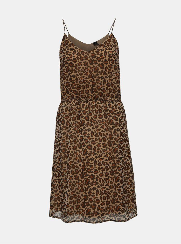 Hnědé šaty na ramínka  s leopardím vzorem VERO MODA Wonda
