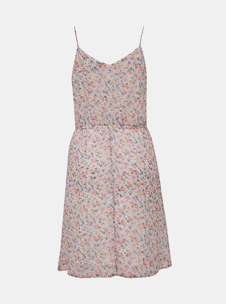 Světle růžové květované šaty na ramínka VERO MODA Wonda