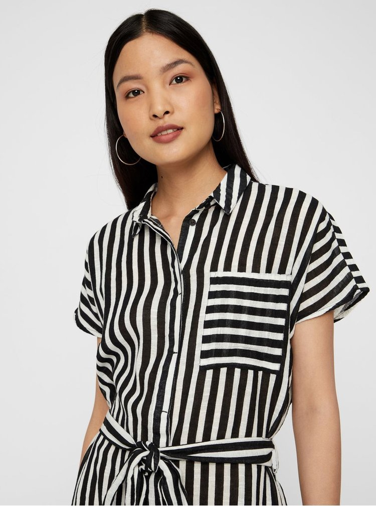 Bielo–čierne pruhované košeľové šaty s vreckom Noisy May Mai