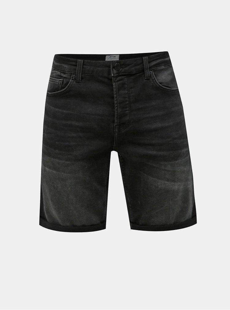 Pantaloni scurti negri din denim ONLY & SONS Ply