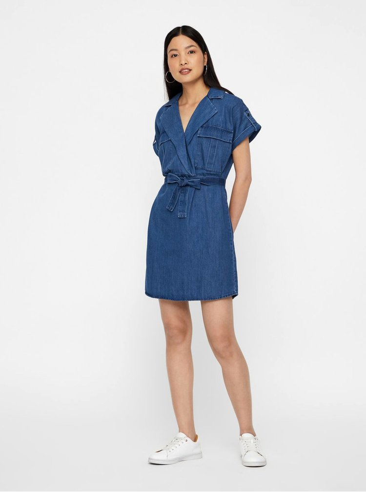 Rochie tip camasa albastra din denim Noisy May Vera