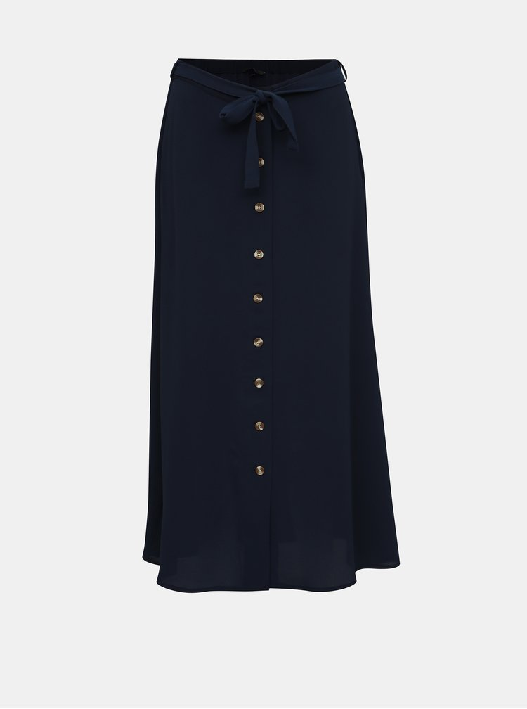 Tmavě modrá midi sukně VERO MODA Sasha