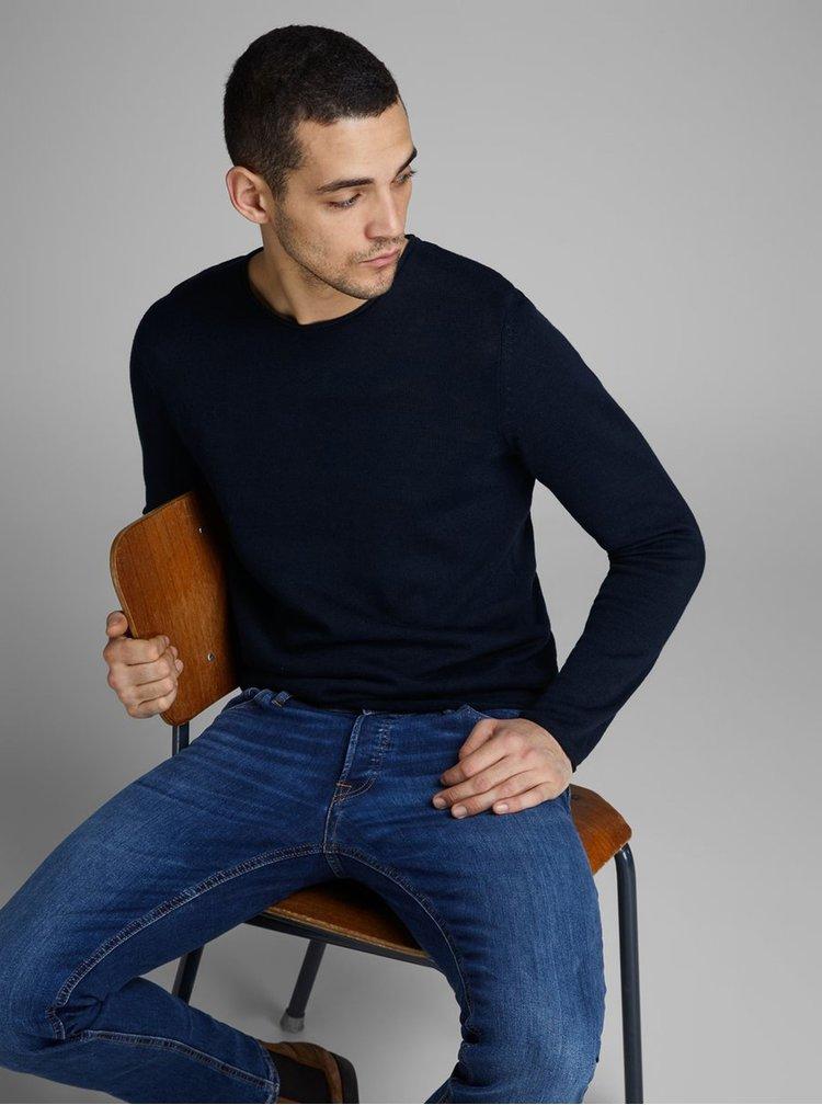 Tmavomodrý ľanový sveter Jack & Jones Linen
