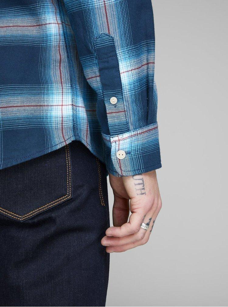 Camasa albastra slim fit in carouri Jack & Jones Nico