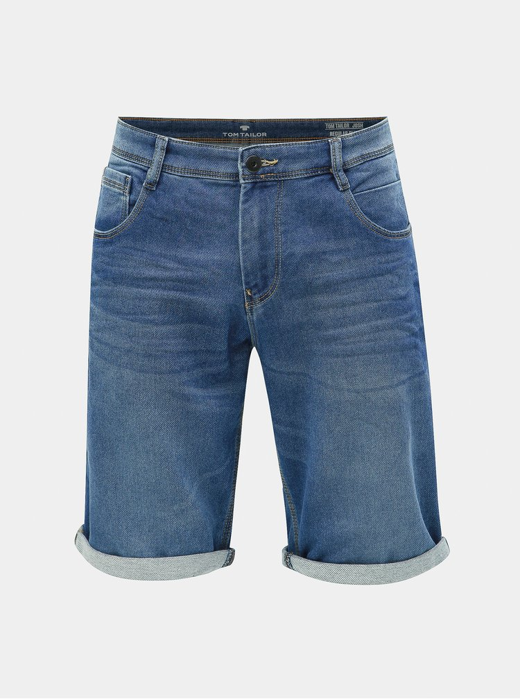 Modré pánske rifľové slim fit kraťasy Tom Tailor