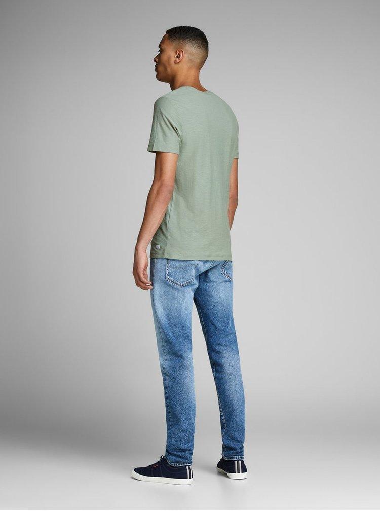 Tricou verde deschis slim fit Jack & Jones Newpleo
