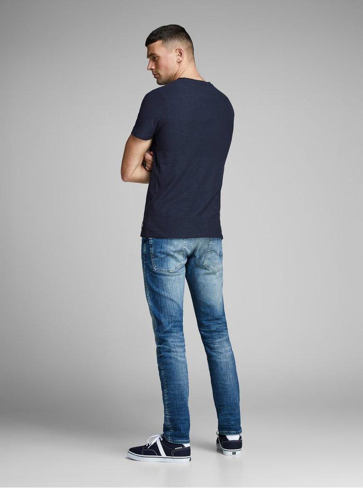 Tmavomodré slim fit tričko Jack & Jones Newpleo