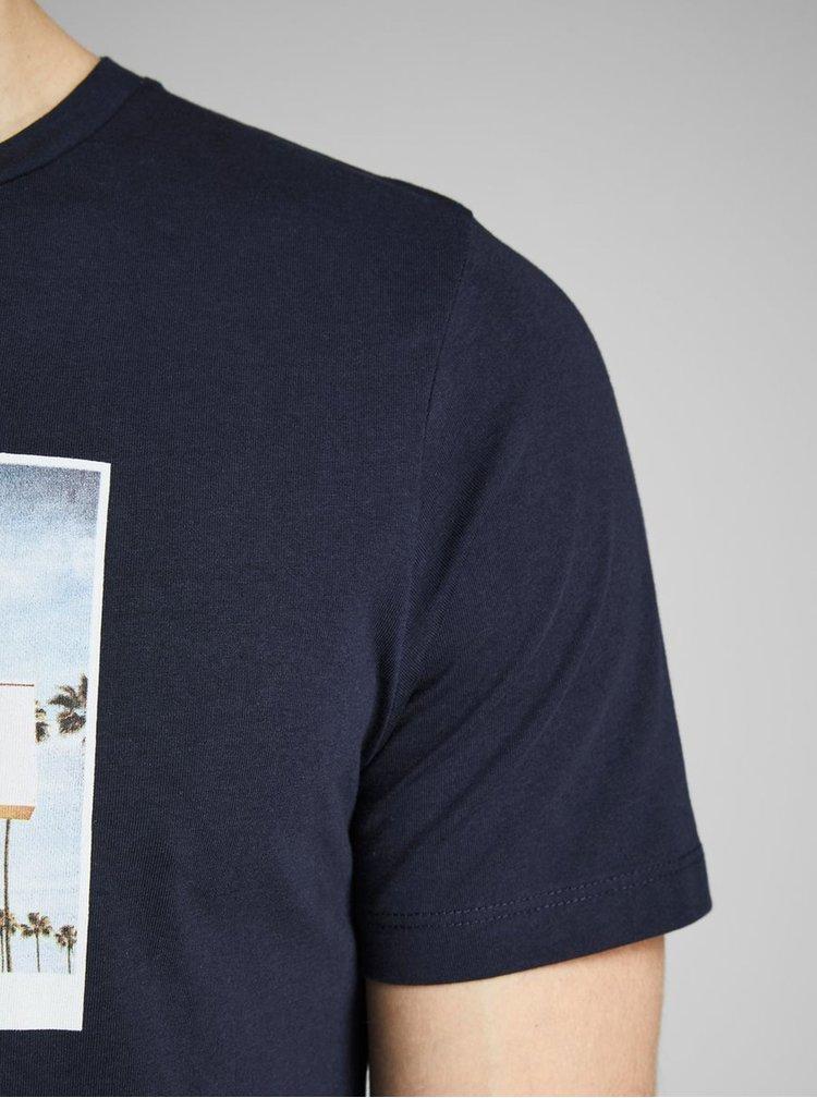 Tricou albastru inchis cu imprimeu Jack & Jones Hotel
