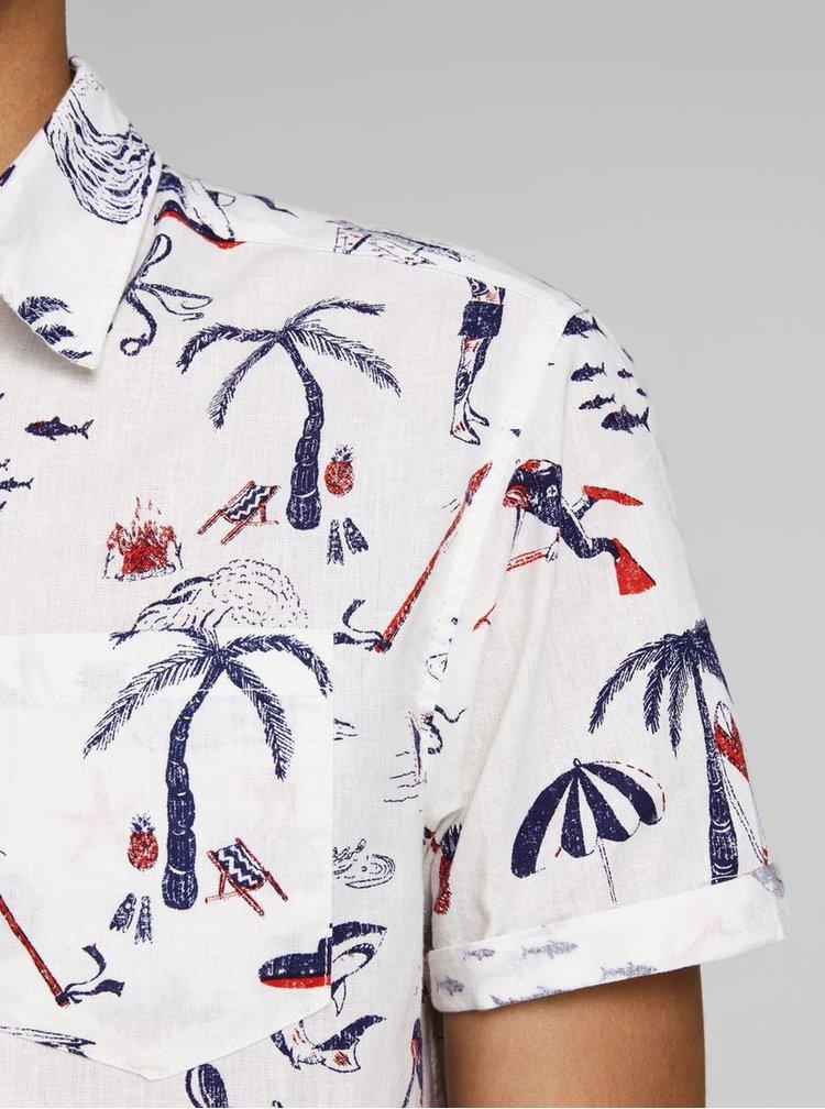 Biela vzorovaná košeľa s prímesou ľanu Jack & Jones Ryan