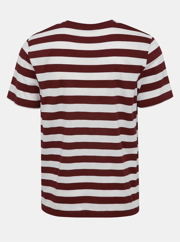 Bielo-vínové pruhované tričko ONLY & SONS Cole