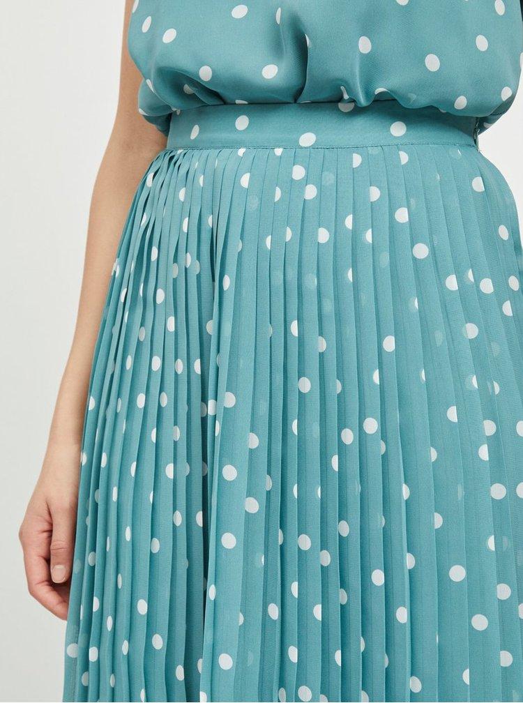 Modrá plisovaná puntíkovaná maxi sukně VILA Yrsa