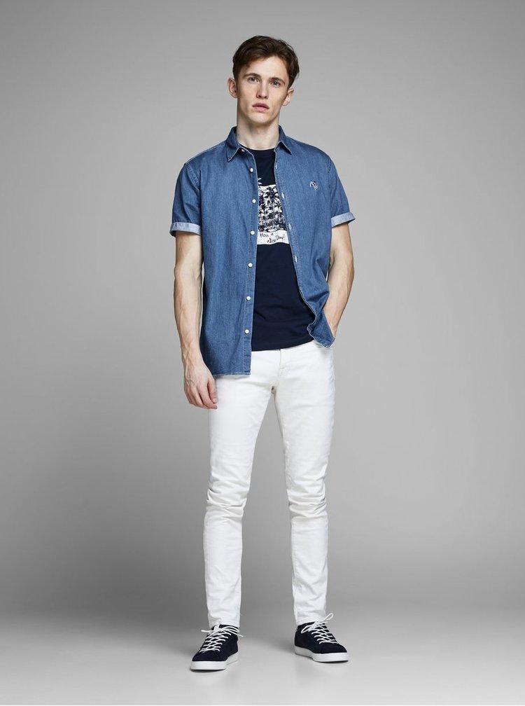 Modrá rifľová košeľa s výšivkou Jack & Jones Surf