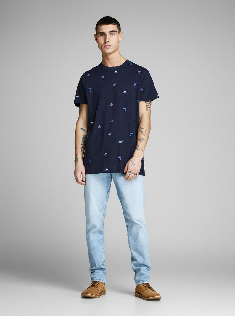 Tmavě modré tričko s potiskem Jack & Jones Stormy