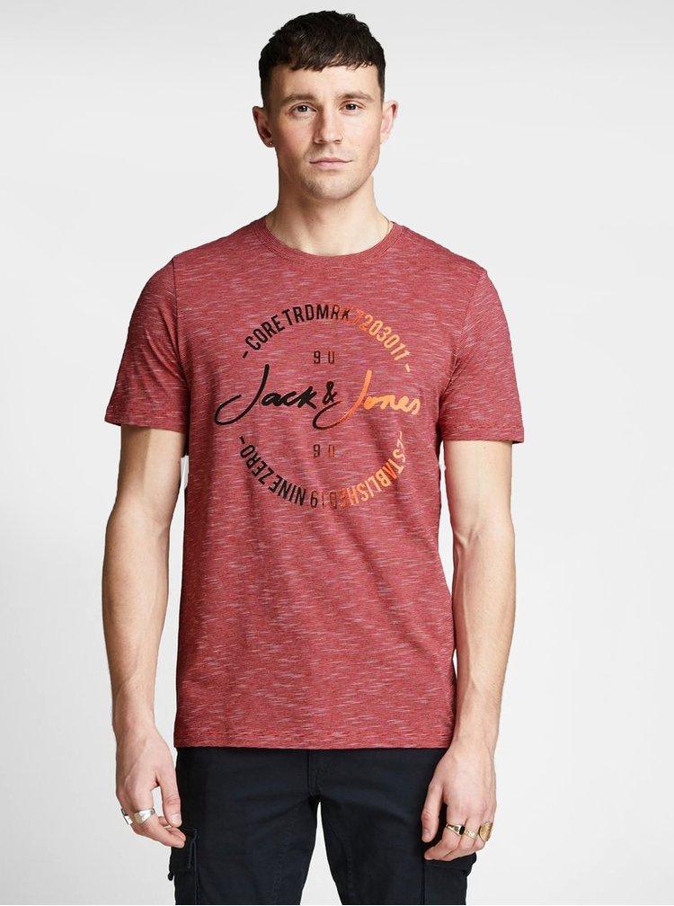 Červené tričko s potiskem Jack & Jones Mick