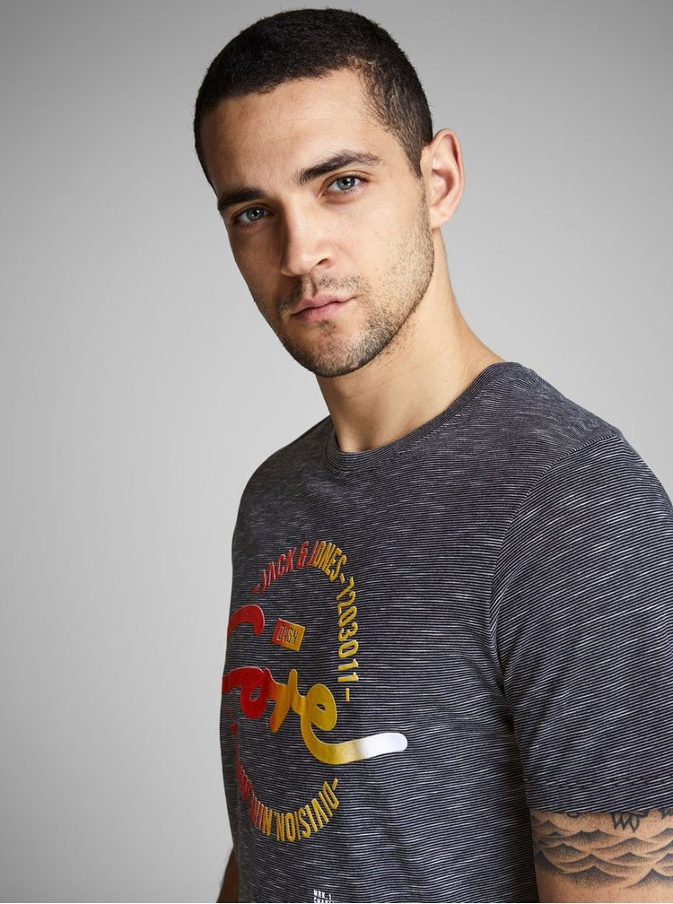 Tmavomodré tričko s potlačou Jack & Jones Mick