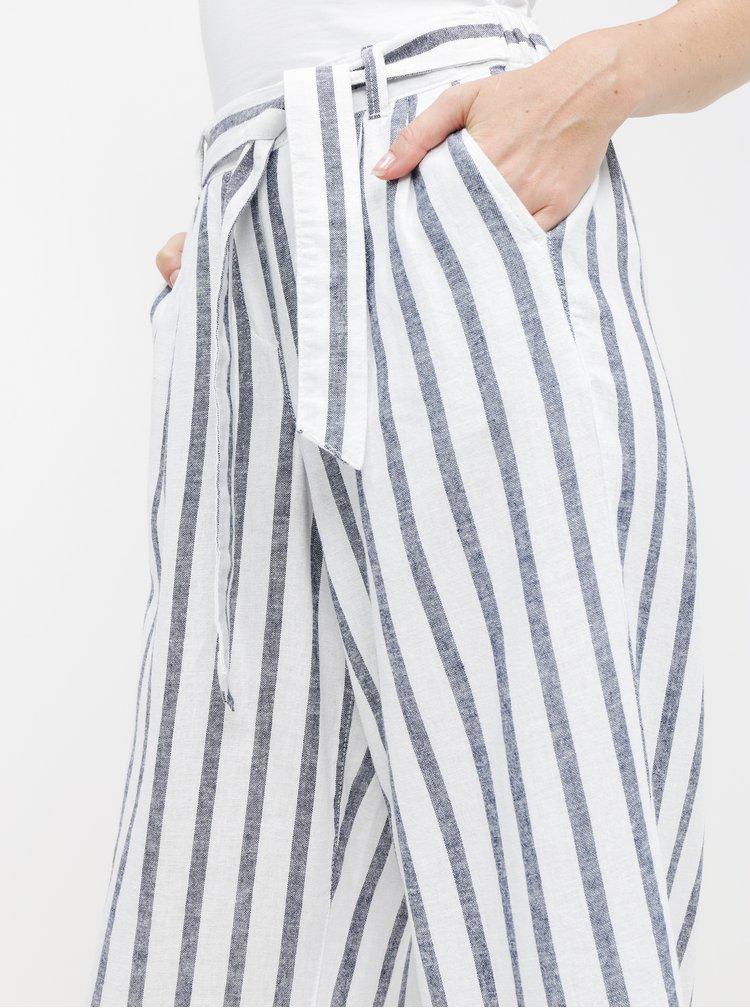 Modro-bílé lněné pruhované culottes Dorothy Perkins