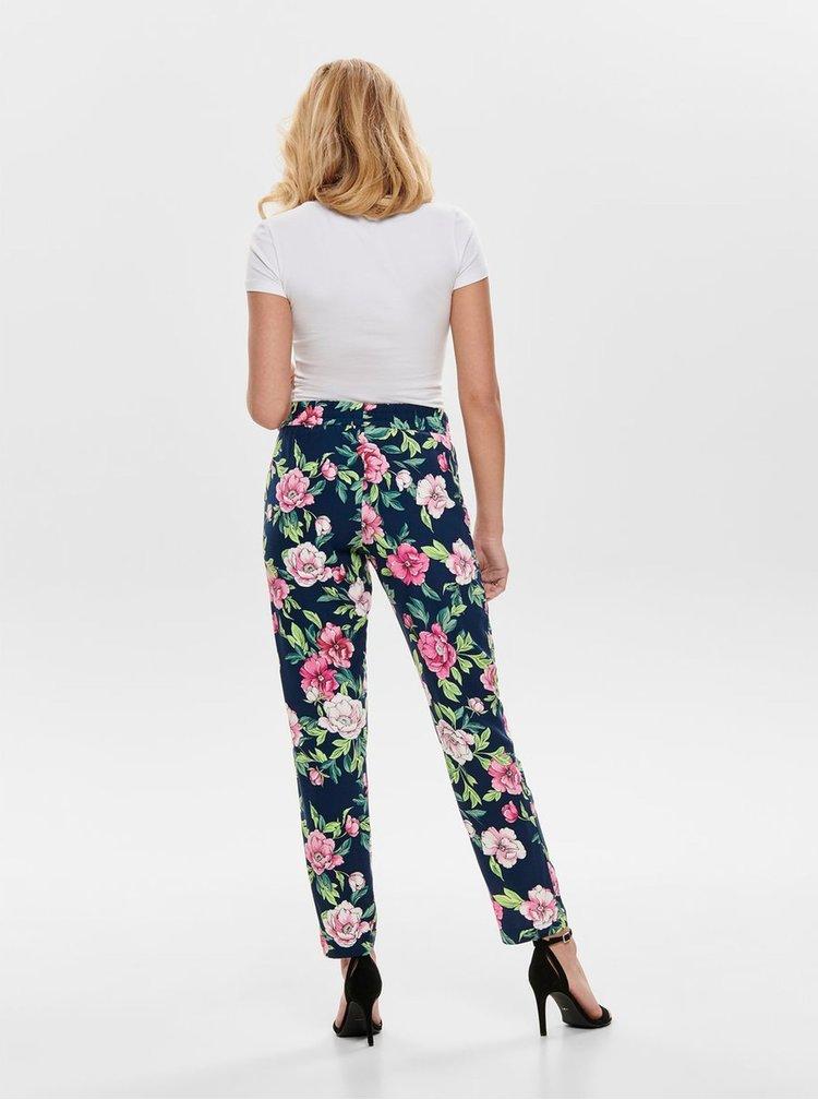 Tmavomodré kvetované nohavice Jacqueline de Yong Star