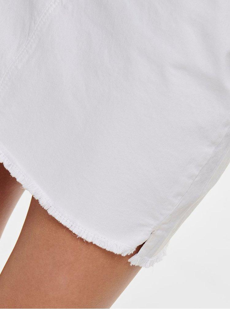 Biela rifľová minisukňa s rozstrapkaným lemom Jacqueline de Yong Anica