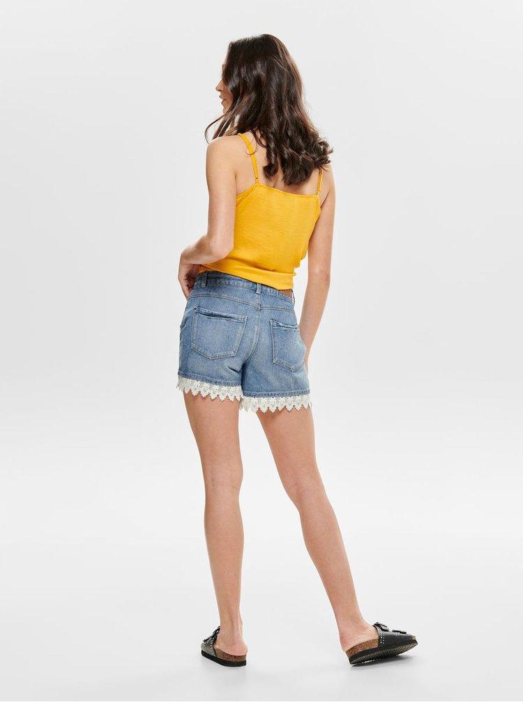 Pantaloni scurti albastri din denim cu dantela Jacqueline de Yong Vera
