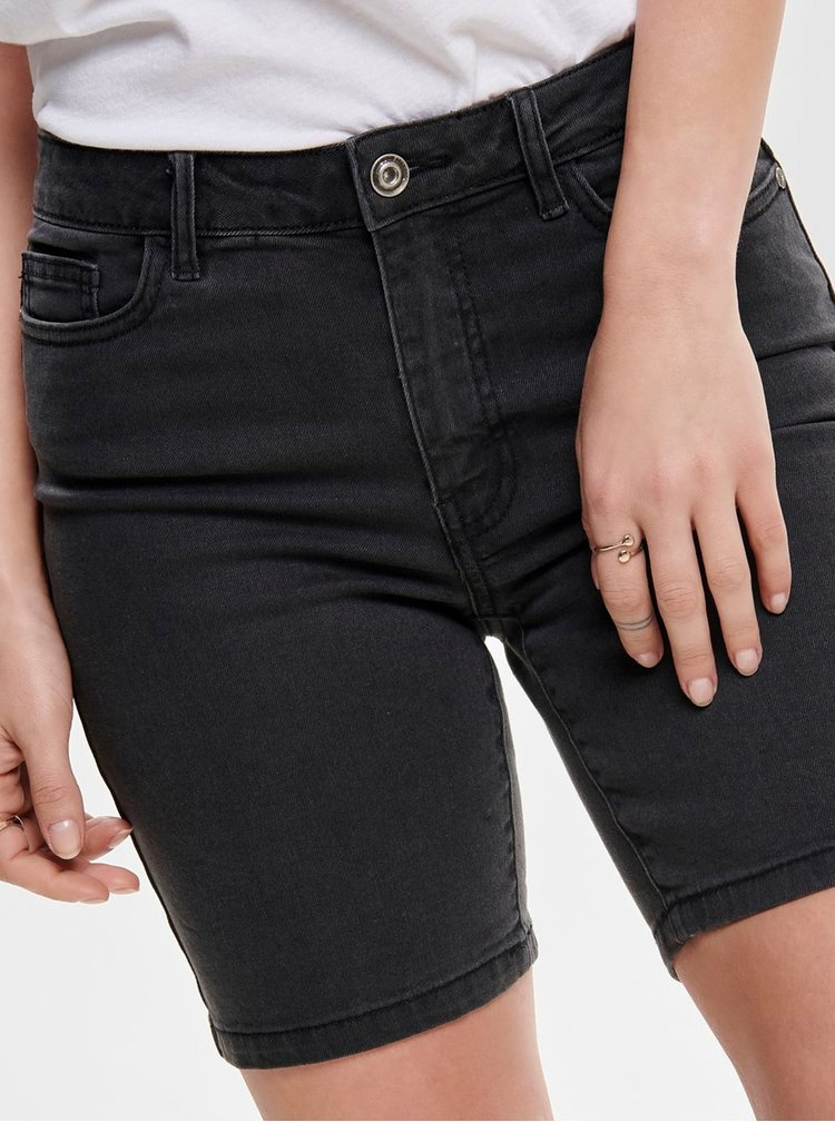 Tmavě šedé džínové skinny kraťasy ONLY Corin