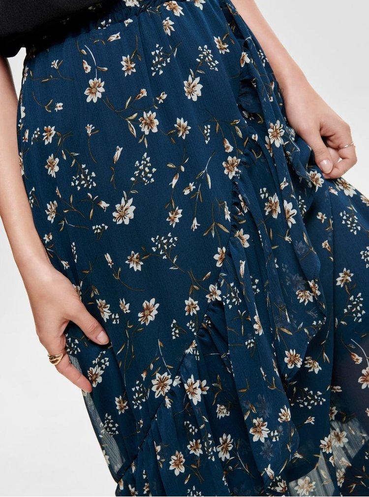 Fusta midi albastru inchis florala cu volane ONLY Sheena