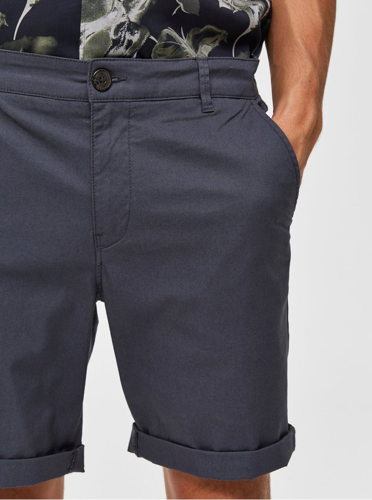 Sivé straight fit chino kraťasy Selected Homme