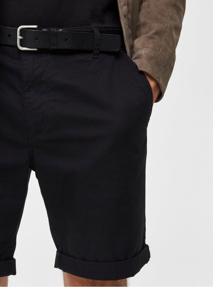 Pantaloni scurti negri straight fit Selected Homme Paris