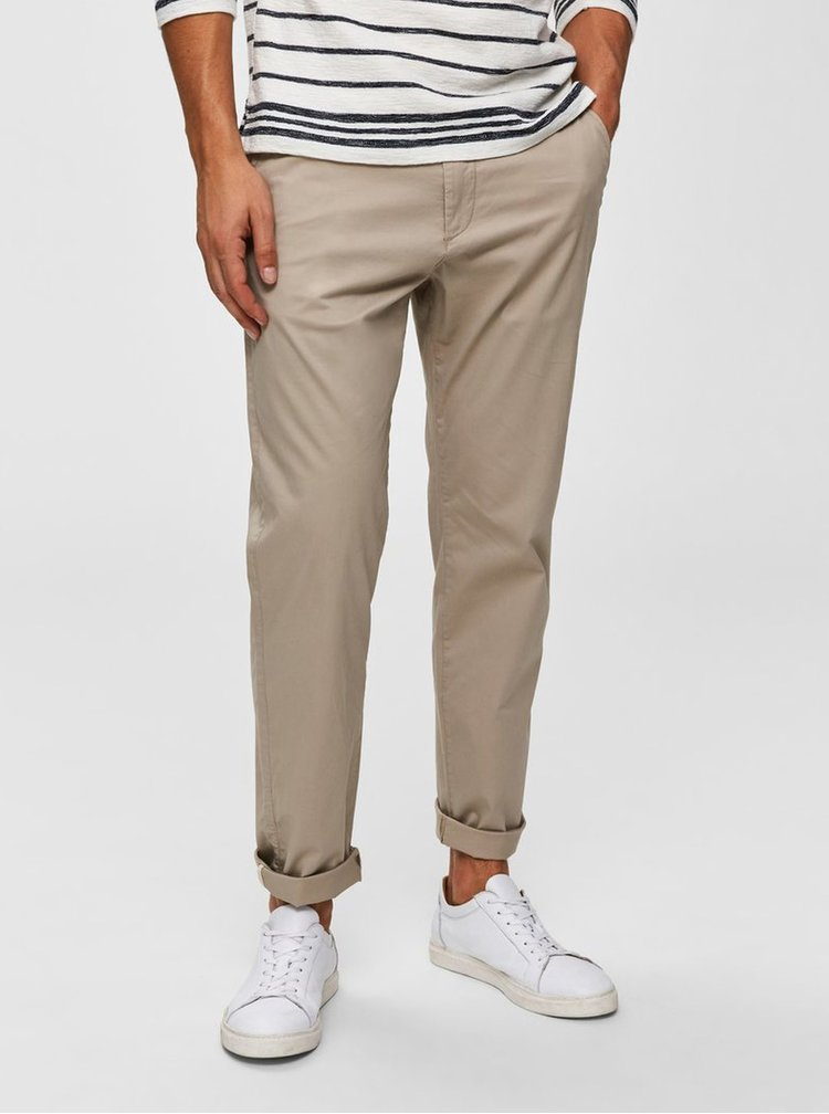 Pantaloni bej chino Selected Homme Luke