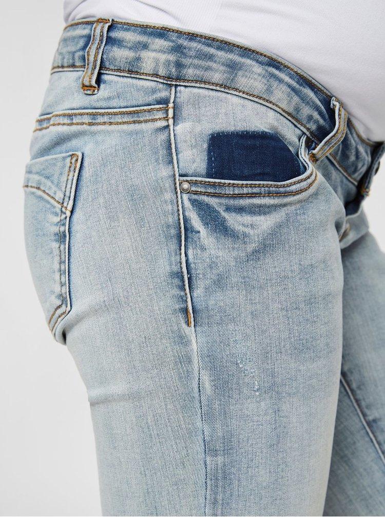 Pantaloni scurti albastri slim fit din denim pentru femei insarcinate Mama.licious