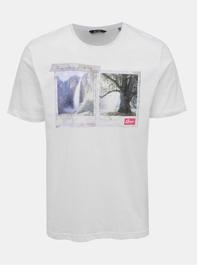 Bílé tričko s potiskem ONLY & SONS Bucks