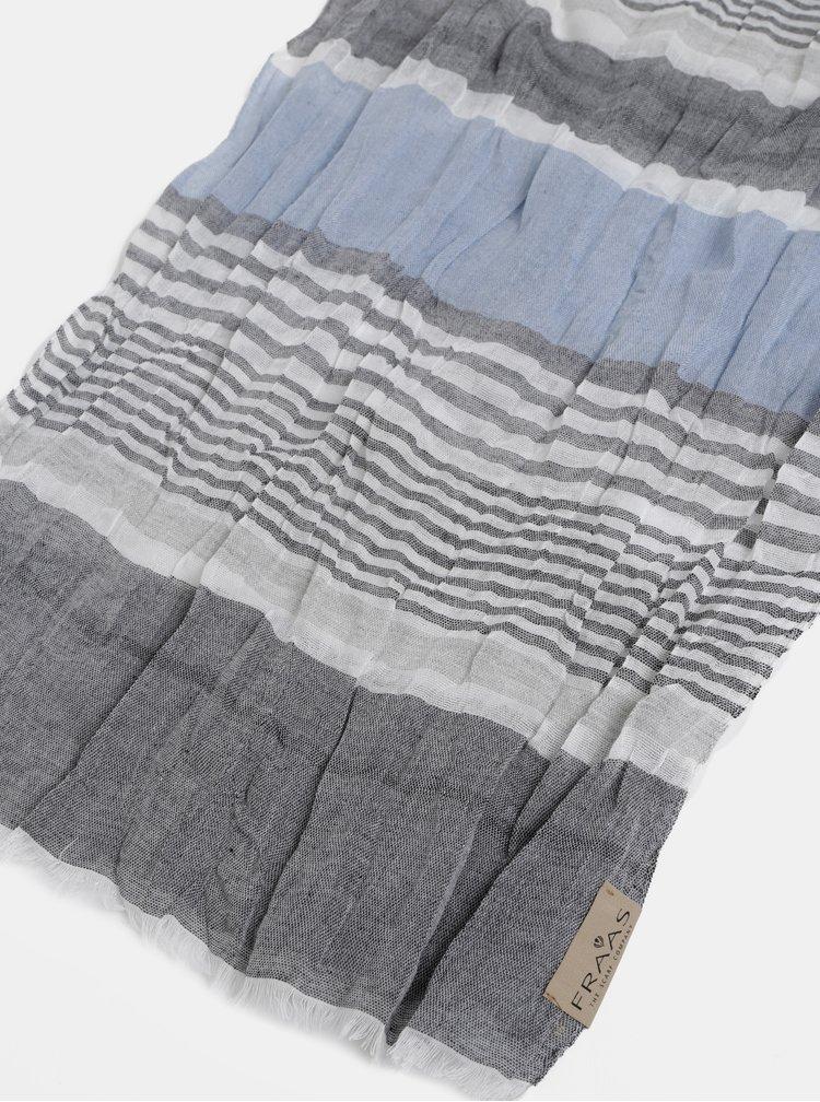 Modro-šedý pánsky pruhovaný šál Fraas