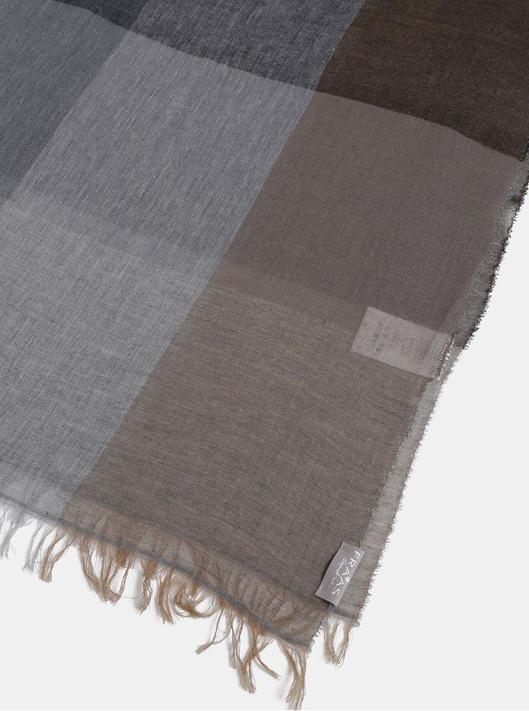 Hnedo-šedý kockovaný pánsky šál Fraas