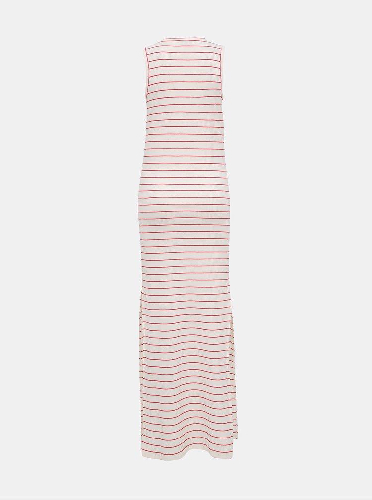 Bílé pruhované žebrované basic maxišaty Jacqueline de Yong Nevada