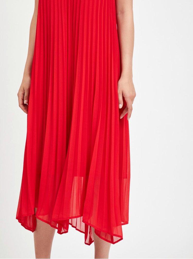 Červené plisované midišaty VILA Addi