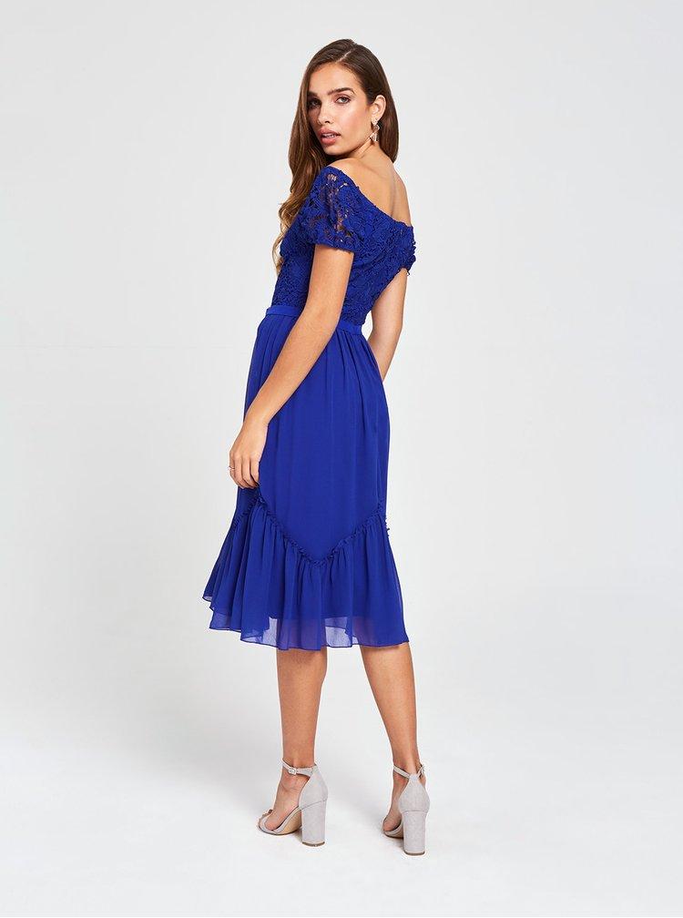 Tmavě modré šaty s odhalenými rameny a krajkou Little Mistress
