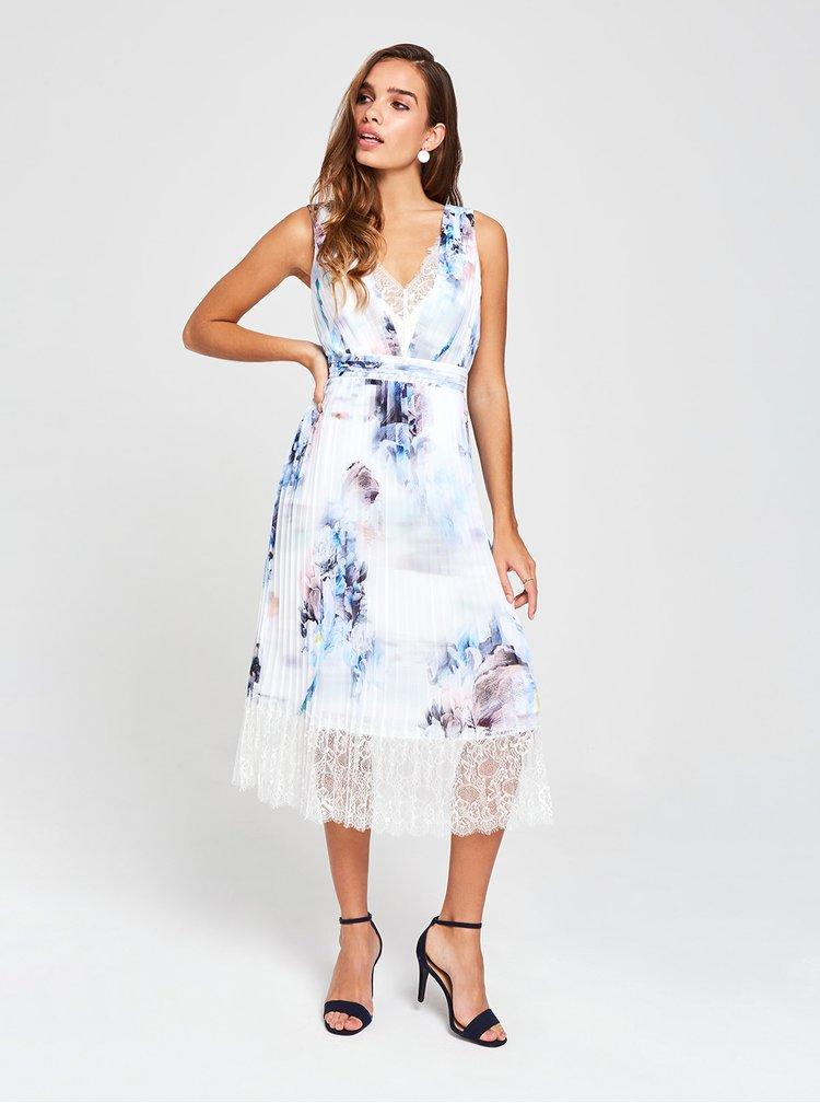 Modro-bílé květované plisované midišaty s krajkou Little Mistress