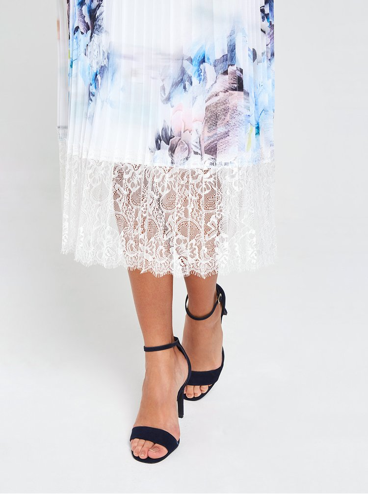 Modro-biele kvetované plisované midišaty s krajkou Little Mistress
