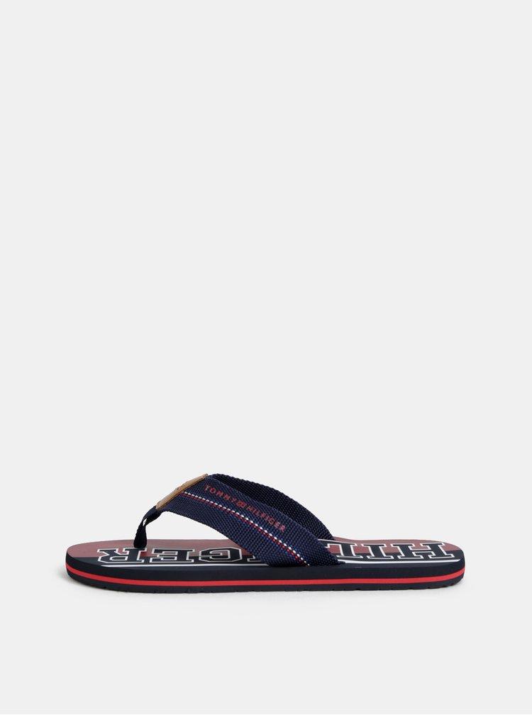 Červeno-modré pánské žabky s koženým detailem Tommy Hilfiger